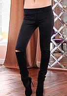 Черные лосины женские, черны женские лосины с вырезом на колене