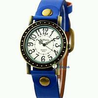 Женские классические винтажные наручные часы WoMaGe, синий кожаный ремешок !!!