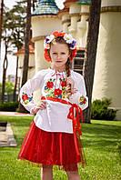 Блузка вышиванка для девочки р. 122-170 см от 7 до 16 лет