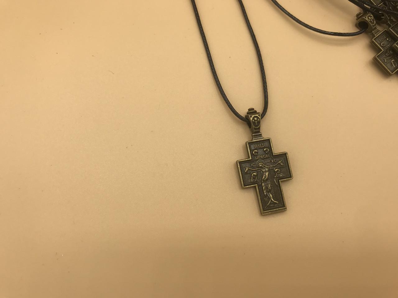 Хрестик фигурный из черненого металла