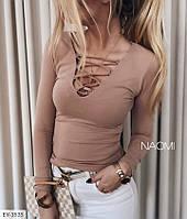 Молодежная кофта женская облегающая по фигуре со шнуровкой на груди длинный рукав р-ры 42-48 арт. 798