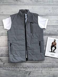 Мужская жилетка безрукавка серая с корманами футболка в подарок