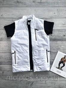 Мужская жилетка безрукавка белая с корманами футболка в подарок