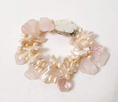 Браслет з річкових Перлів персикового кольору (перли біва, бароковий перли, перли бароко), Рожевого Кварцу