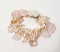 Браслет з річкових Перлів персикового кольору (перли біва, бароковий перли, перли бароко), Рожевого Кварцу, фото 1