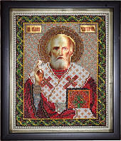 Икона Святой Николай Чудотворец (вышитая бисером)