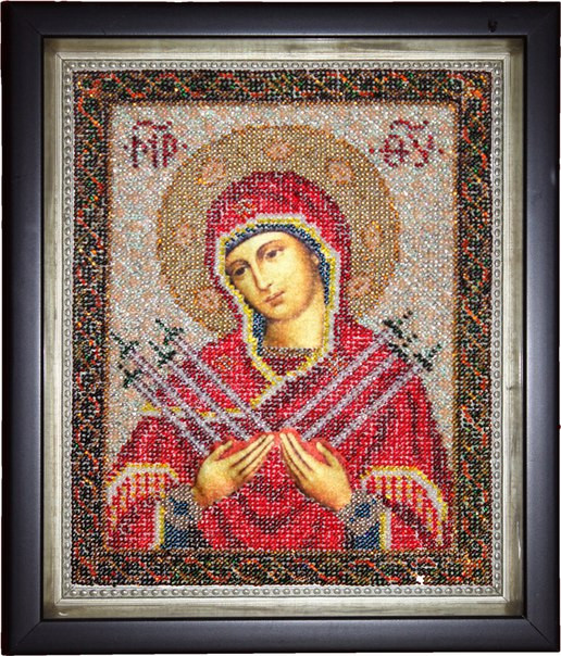 Ікона Богородиця Семистрельная (вишита бісером)