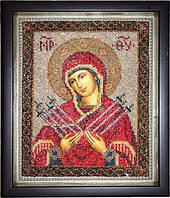 Икона Богородица Семистрельная (вышитая бисером)