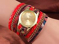 Шикарные часы-браслет.  Красные. 8 цветов (Код 02)