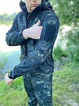 Непромокаемый Мужской костюм для рыбалки и охоты Софт Шелл Деми с капюшоном Мультикам, фото 2