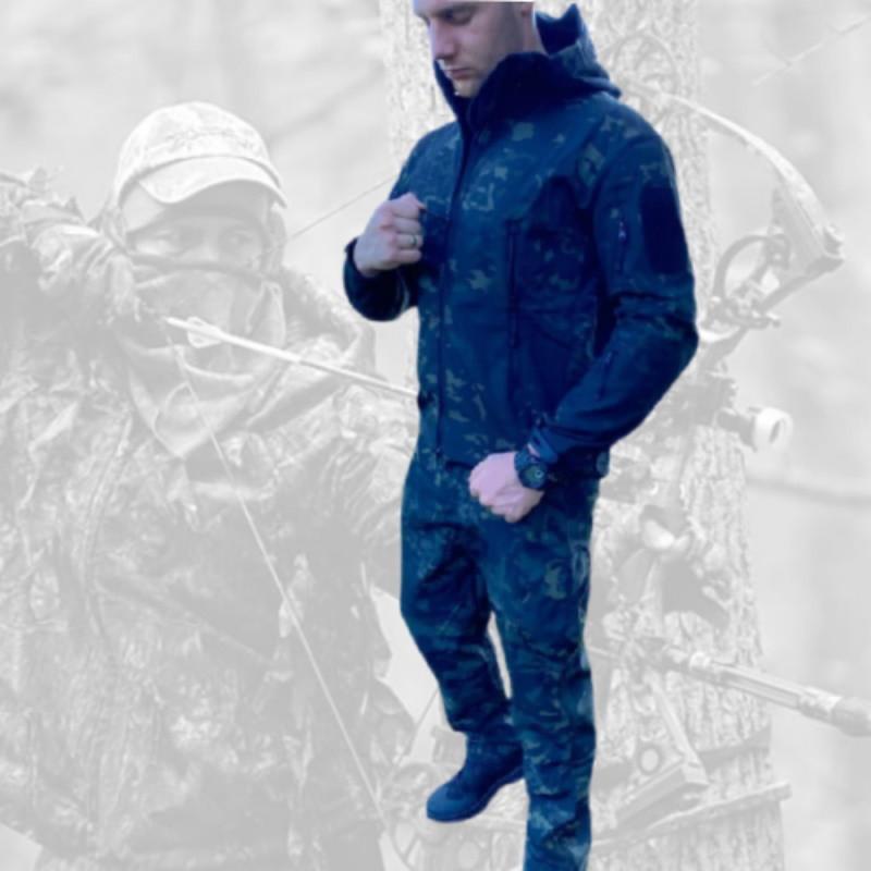 Непромокаемый Мужской костюм для рыбалки и охоты Софт Шелл Деми с капюшоном Мультикам