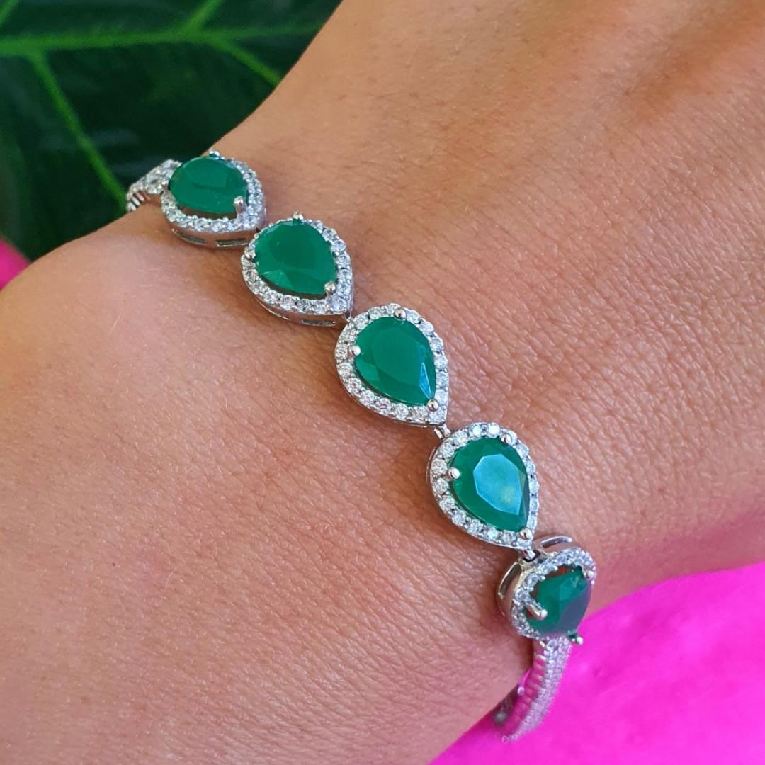 Серебряный браслет с зеленым авантюрином Изабель - Браслет женский серебряный с зелеными камнями