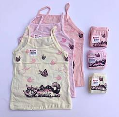 """Комплекти маєчки і трусики для дівчаток Donella вік 2/3, ріст 98-104 """"Котик з метеликами"""""""