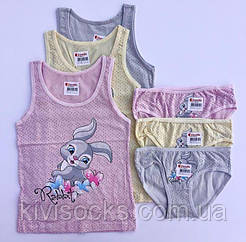 """Комплекты маечки и трусики для девочек Donella возраст 2/3, рост 98-104 """"Кролик"""""""