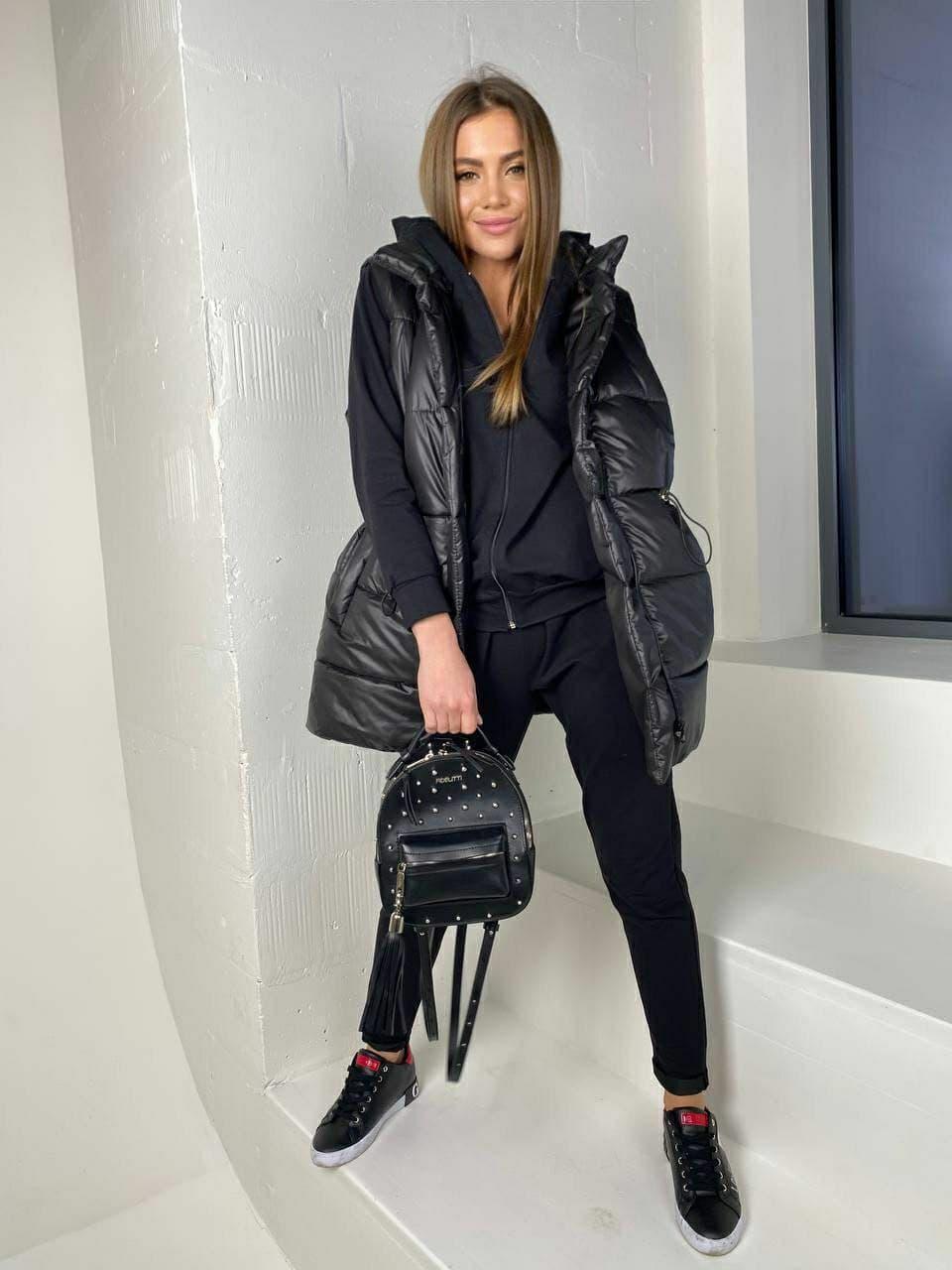 Чорний стильний жіночий костюм трійка ( спортивний костюм + жилетка)