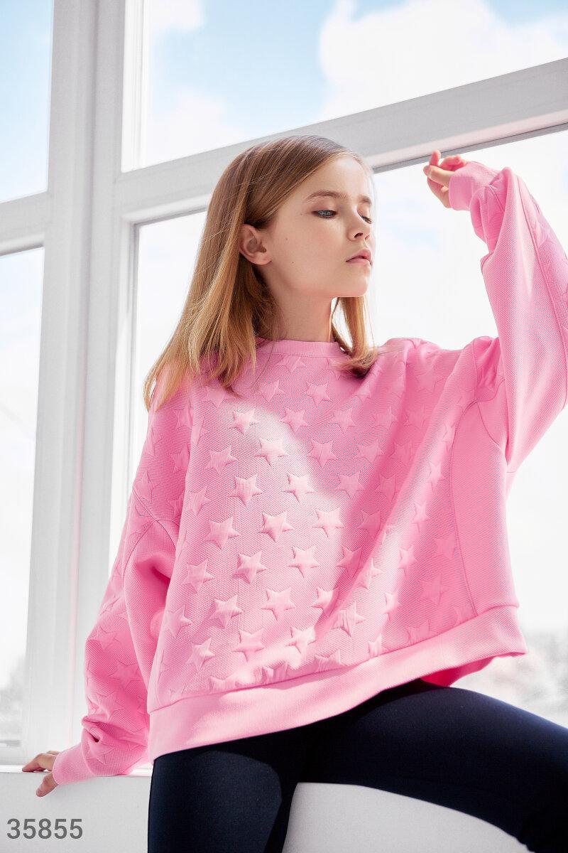 Трендовий рожевий світшот для дівчинки