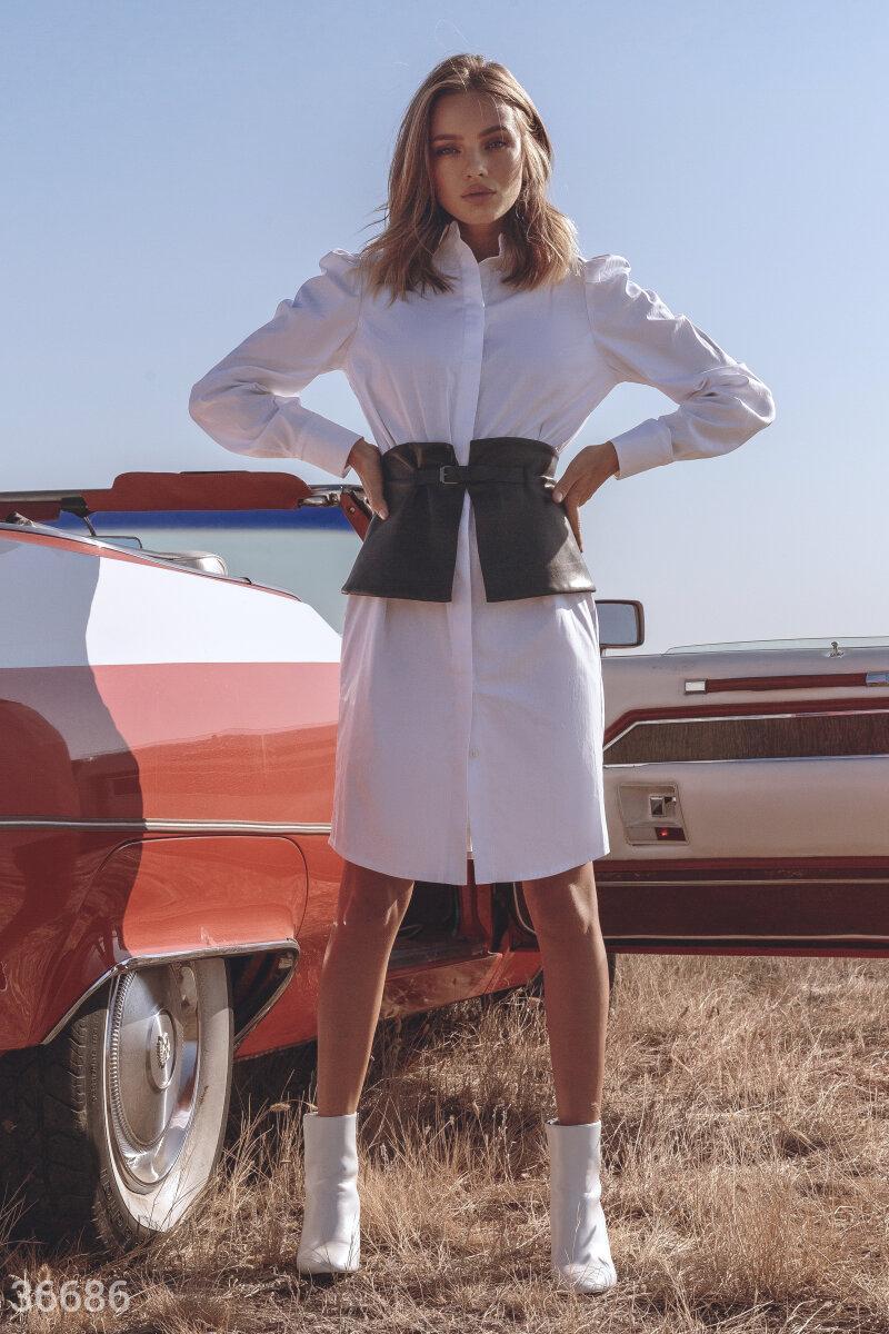 Платье-рубашка с кожаным поясом