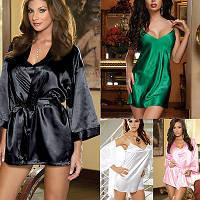 Сексуальный комплект халат, сорочка, пояс, стринги, черный цвет