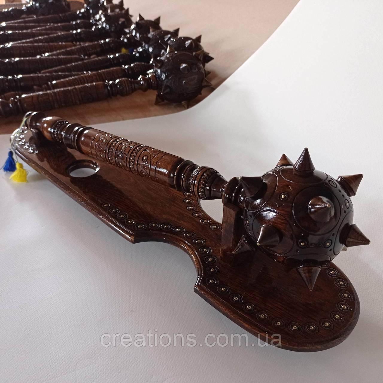 Деревянная резная булава с подставкой 56 см., подарок, сувенир, ручная работа
