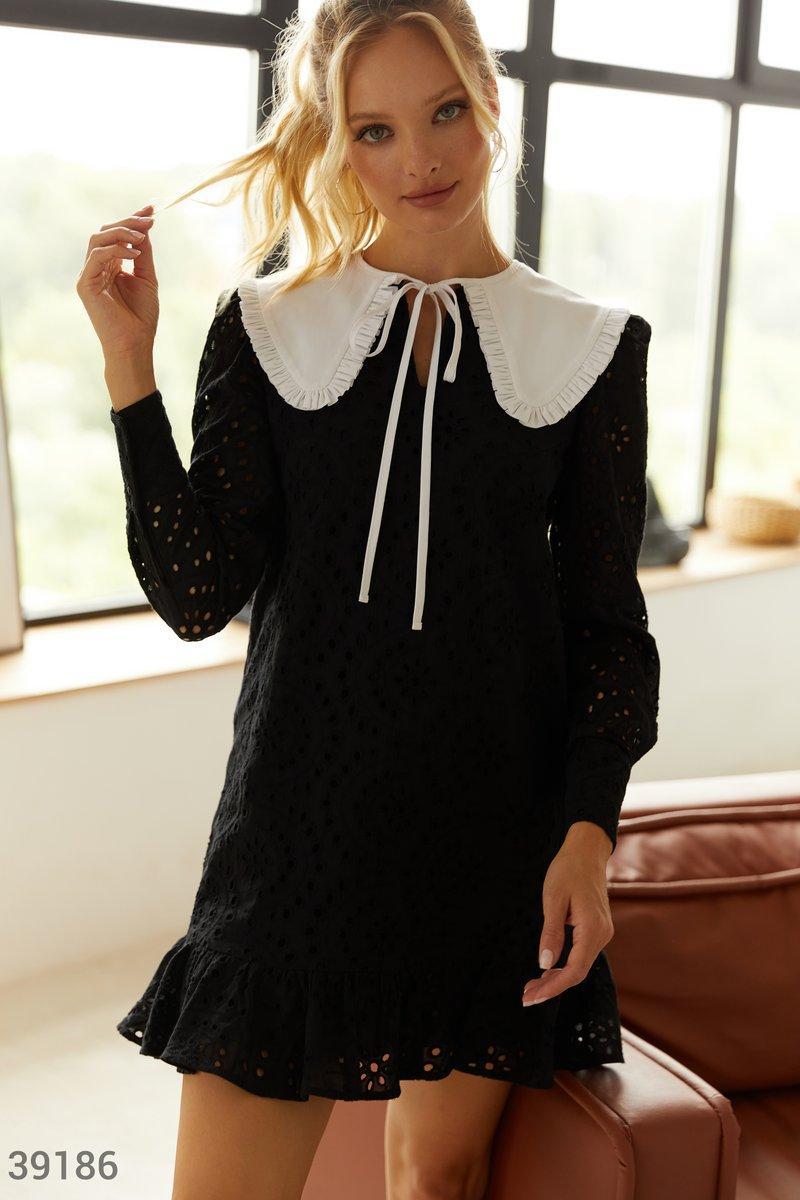 Черное платье из прошвы
