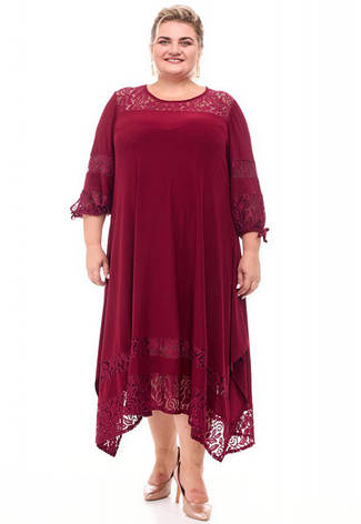 Ошатне плаття бордового кольору великого розміру, фото 2
