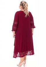 Ошатне плаття бордового кольору великого розміру, фото 3