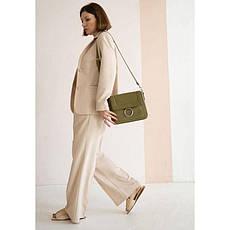 Жіноча шкіряна сумка Jessie оливкова, фото 2