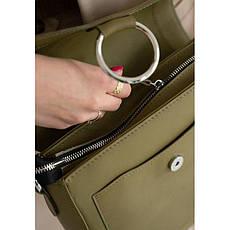Жіноча шкіряна сумка Jessie оливкова, фото 3