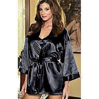 Стильный комплект халат, сорочка, пояс, стринги, черный цвет