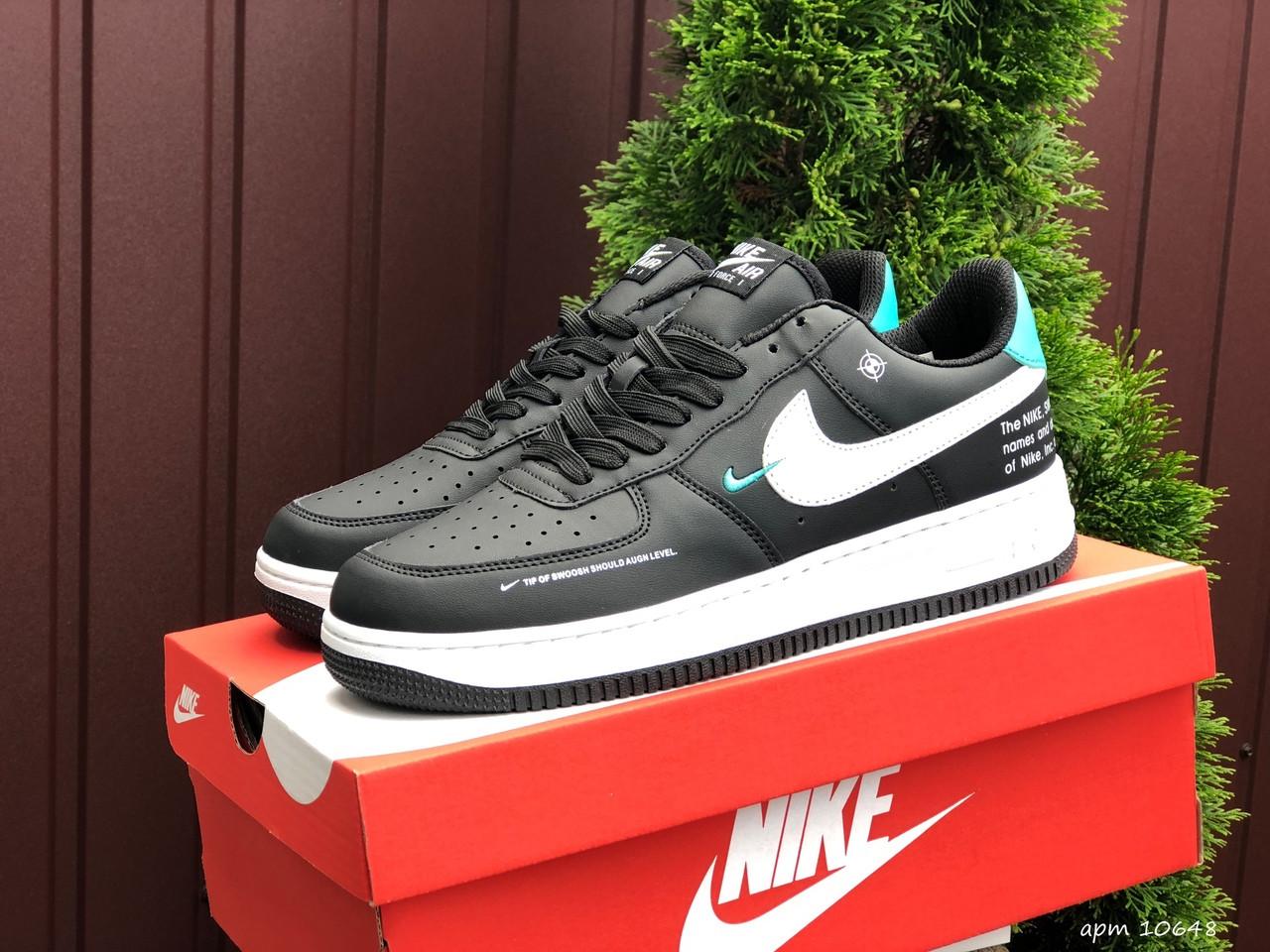 Чоловічі кросівки Nike Air Force чорні з білим і м'ятним
