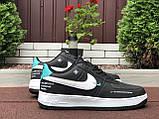 Чоловічі кросівки Nike Air Force чорні з білим і м'ятним, фото 3