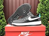 Чоловічі кросівки Nike Air Force чорні з білим і м'ятним, фото 4