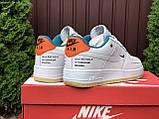 Мужские кроссовки Nike Air Force белые с оранжевым, фото 3