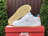 Мужские кроссовки Nike Air Force белые с оранжевым, фото 4
