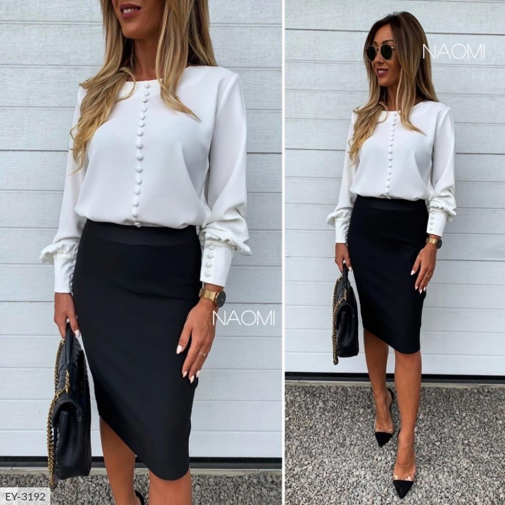 Класична блуза жіноча біла ділова ошатна з довгим рукавом з манжетом р-ри 42-46 арт. 902