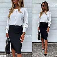 Класична блуза жіноча біла ділова ошатна з довгим рукавом з манжетом р-ри 42-46 арт. 902, фото 1