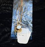 Яскравий помітний кулон у вигляді сови совушки совеня зі стразами та камінням під золото з ланцюжком 082021, фото 2