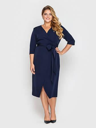 Жіноче плаття на запах батал темно-синє, фото 2