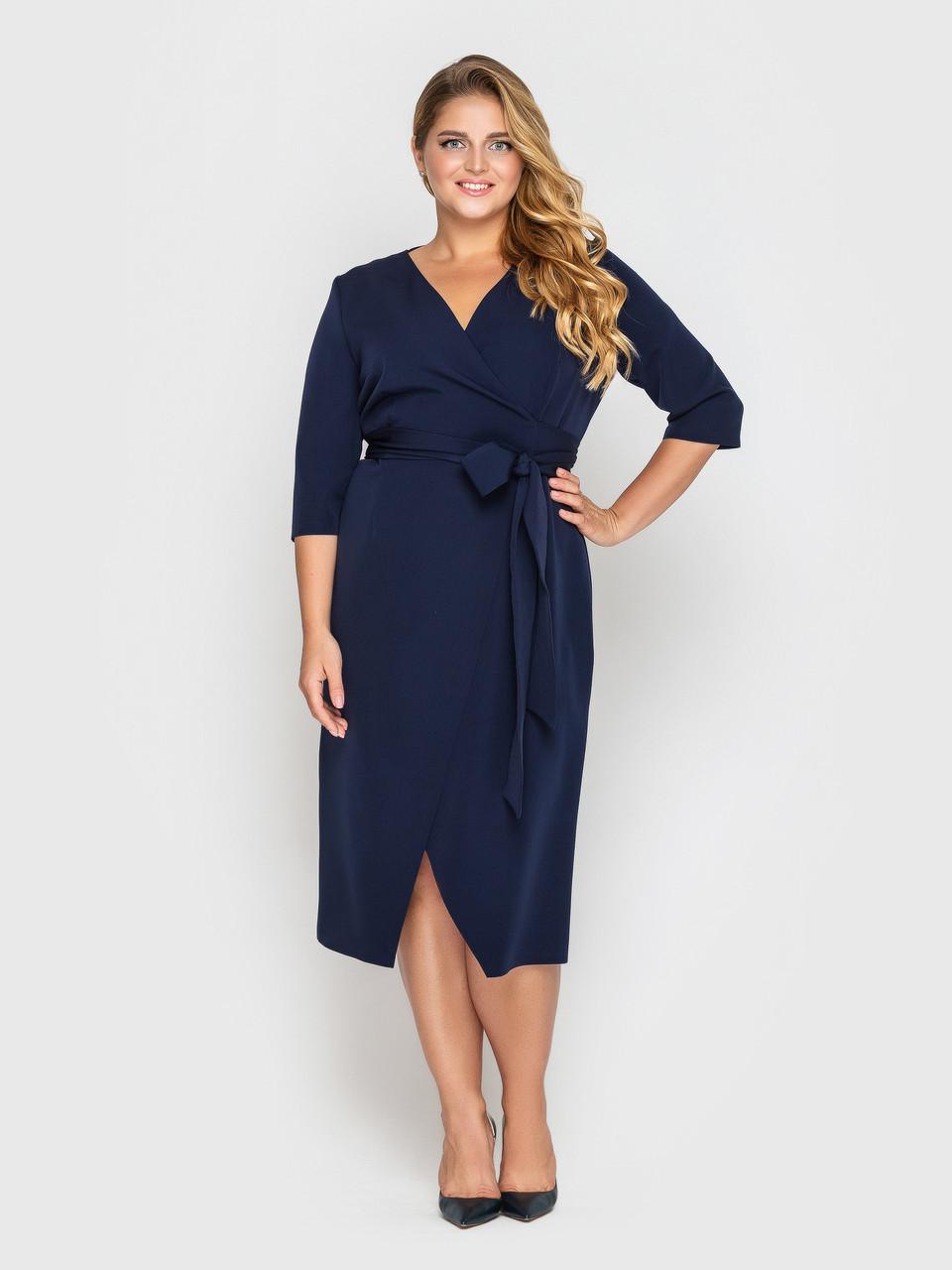 Жіноче плаття на запах батал темно-синє
