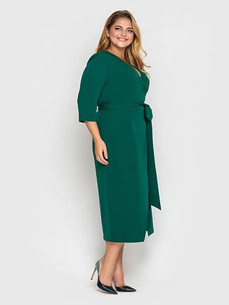 Платье на запах для полных зеленое красивое, фото 2