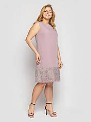 Коктейльное женское платье батал цвета пудра