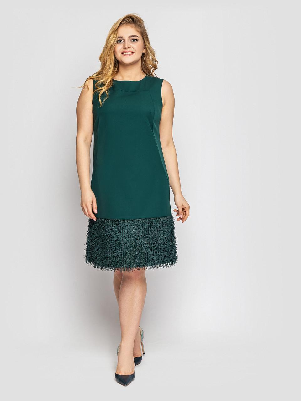 Коктейльне плаття без рукавів для повних смарагдове