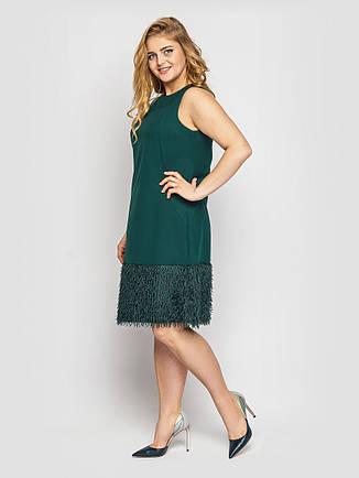 Коктейльное платье без рукавов для полных изумрудное, фото 2