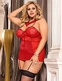 Эротический кружевной корсет с подтяжками и чулками Красный Размер L-5XL., фото 2