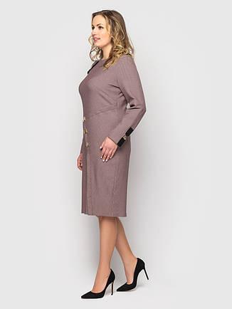 Батальное платье для офиса строгое цвета пудра, фото 2