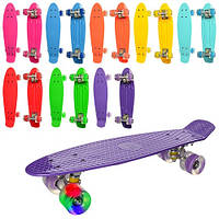 Скейт пенни,56-14 см,пласт-антискольз,алюм.подвес,колесаПУ,св,подшABCE-7