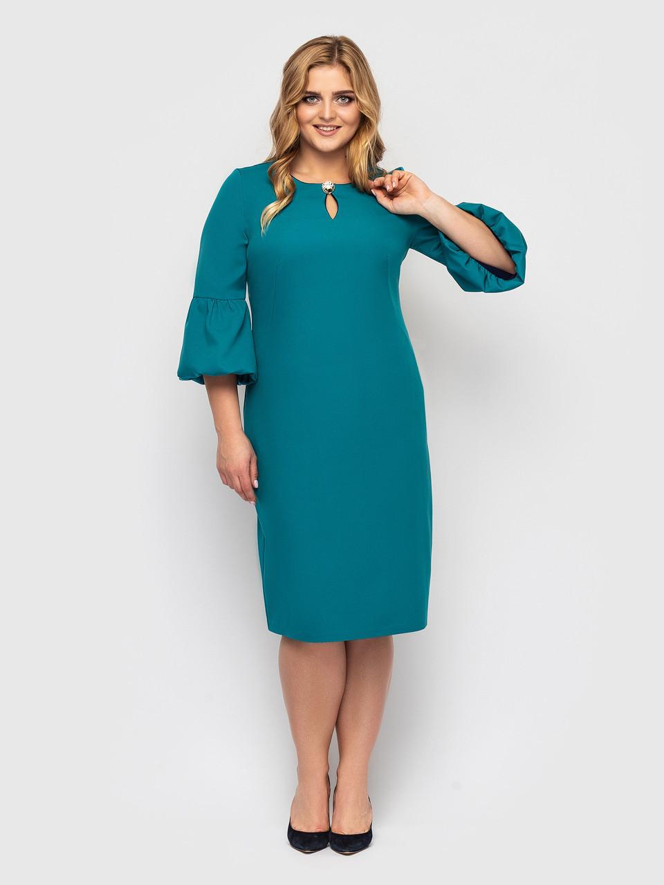 Бирюзовое платье батал с поясом элегантное
