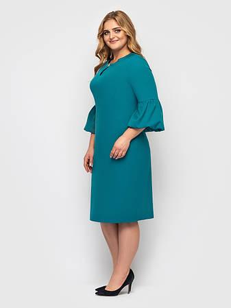 Бірюзове плаття батал з поясом елегантне, фото 2