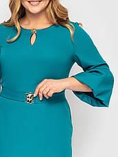 Бірюзове плаття батал з поясом елегантне, фото 3