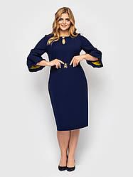 Элегантное платье батал для полных женщин темно-синее